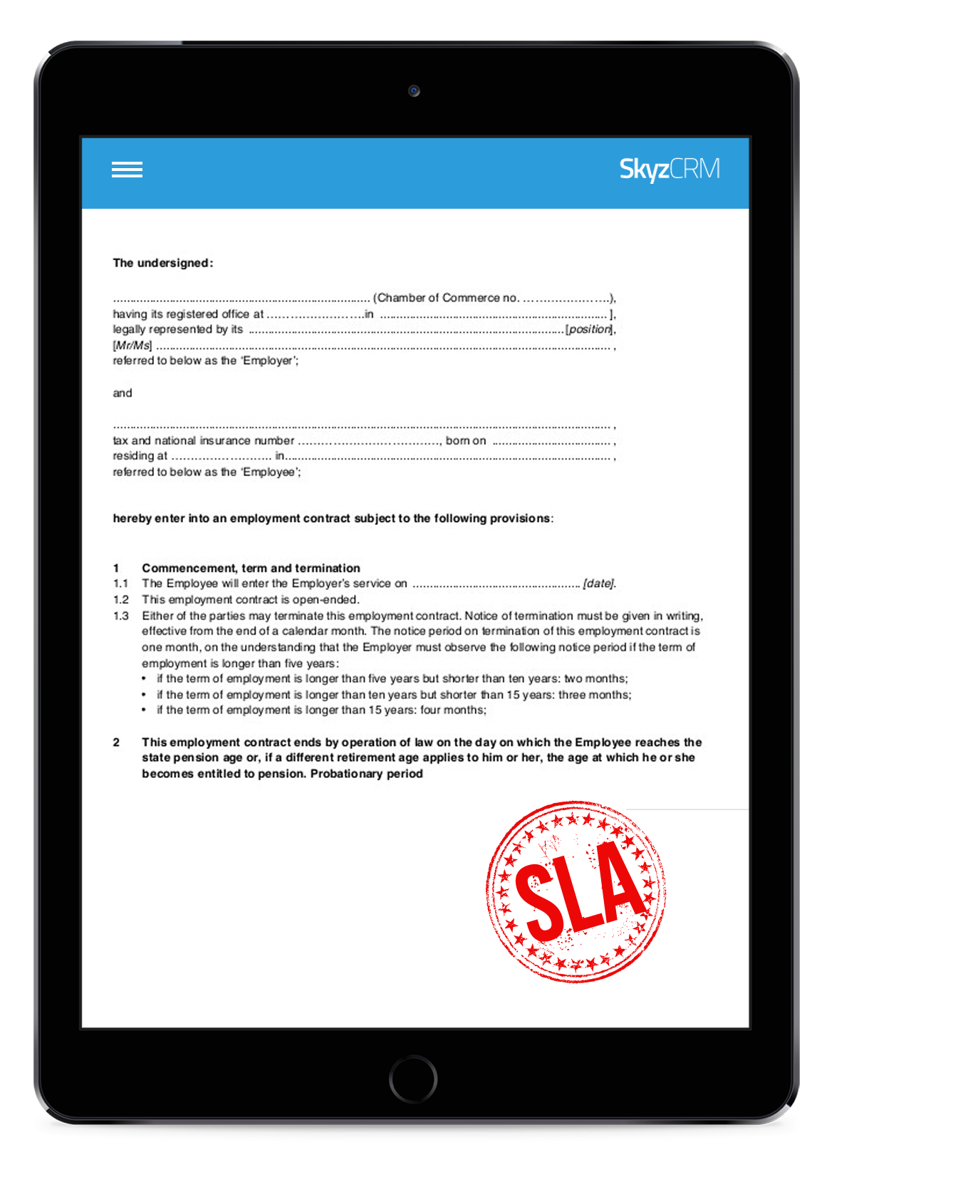 SLA management with Skyz Service
